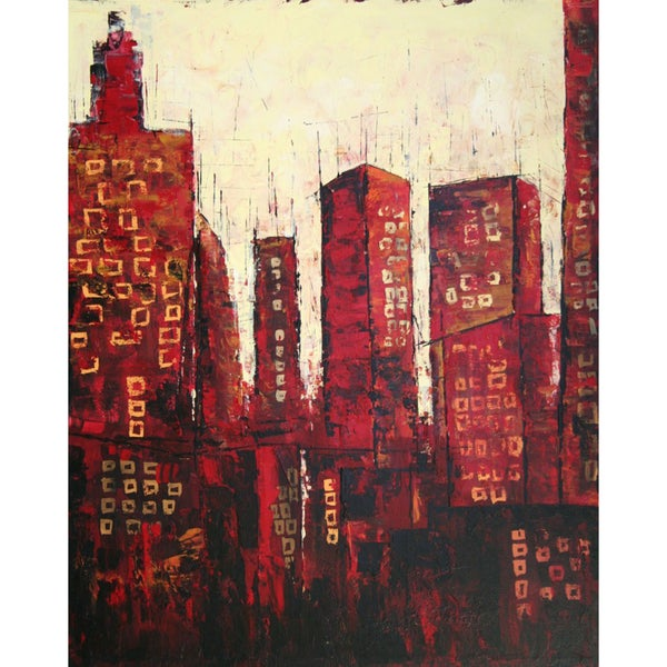 Art in Style 'City Skyline at Sunset' Hand-Painted Canvas Wall Art