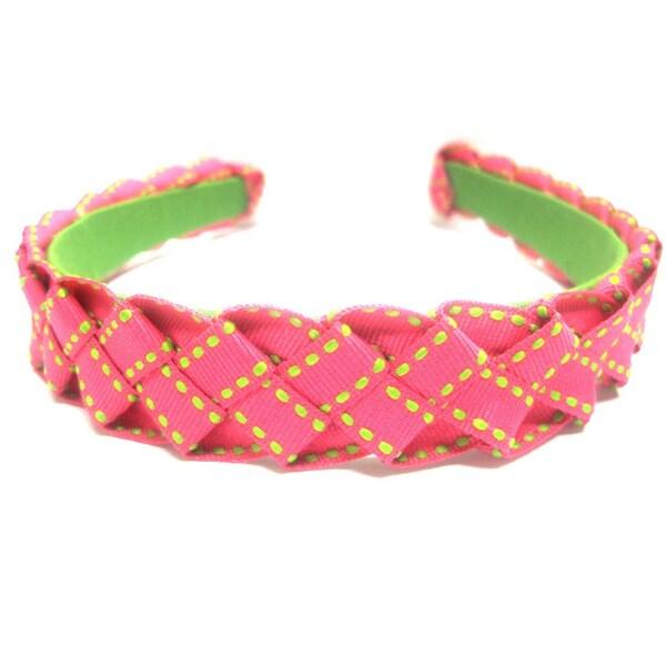 Crawford Corner Shop Pretty in Pink & Green Braided Ribbon Headband