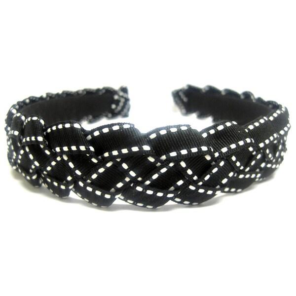 Crawford Corner Shop Black and White Braided Ribbon Headband