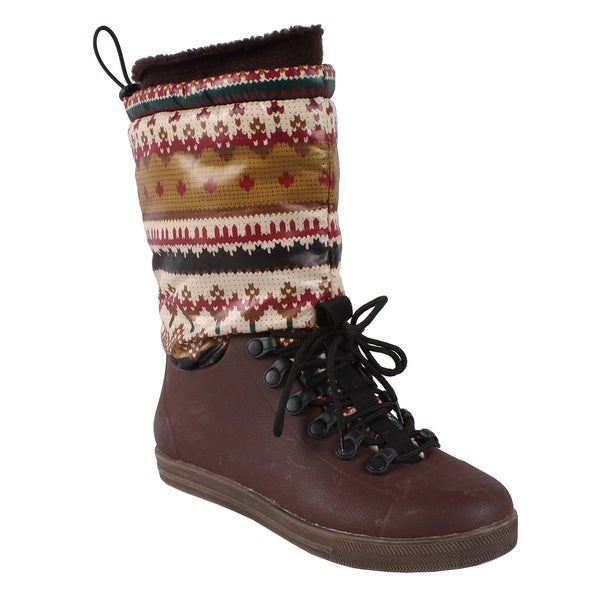 Pinky Women's 'Eliza-17' Printed Cuff Snow Boots
