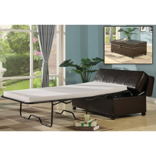Dark Brown Faux Leather Pull-Out Sleeper Ottoman with Spring Mattress