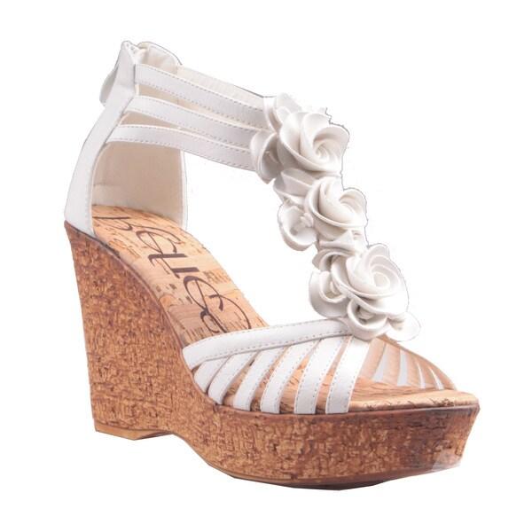 Refresh by Beston Women's 'Maysa-02' White T-Strap Wedge Sandals