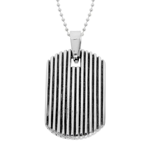 Stainless Steel Men's Black Ion-plated Dog Tag Necklace