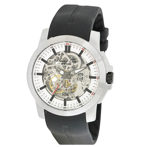 Kenneth Cole Men's KC1852 Black Silicone Automatic Watch with Silver Dial