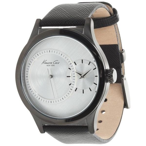 Kenneth Cole Men's KC1892 Black Calf Skin Quartz Watch with White Dial