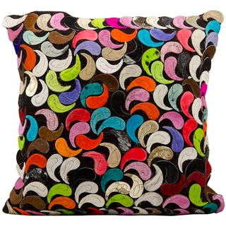 Mina Victory Natural Leather and Hide Paisleys Multicolor Throw Pillow (20-inch x 20-inch) by Nourison