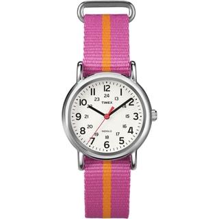 Timex T2P0729J Women's Weekender Pink/ Orange Stripe Slip Thru Nylon Strap Watch