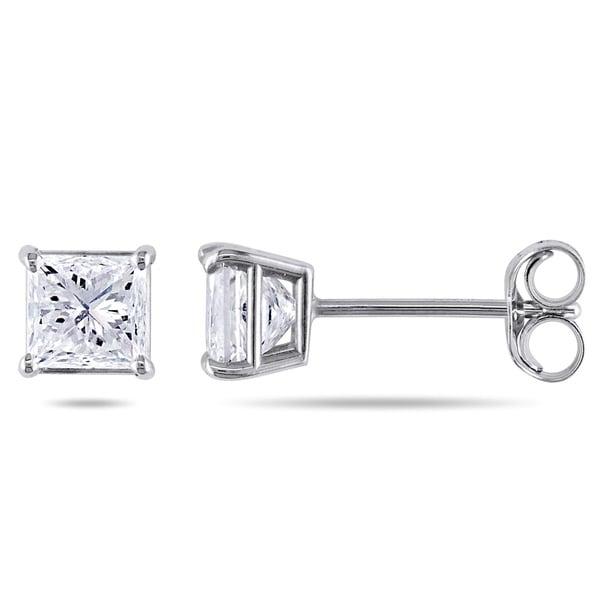 Miadora Signature Collection 14k White Gold 1ct TDW Diamond Earrings