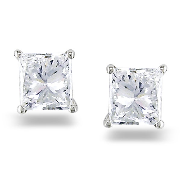Miadora 14k White Gold 3/4ct TDW Princess Diamond Stud Earrings