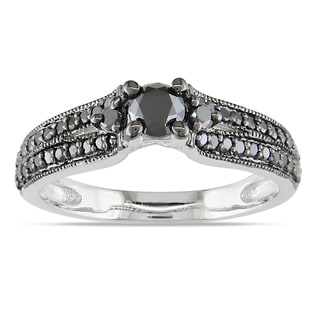 Miadora Sterling Silver 3/4ct TDW Black Diamond Ring
