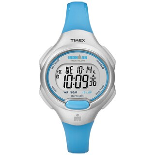 Timex Women's T5K739 Ironman Essential 10 Mid-Size Turquoise Resin Strap Watch - silver