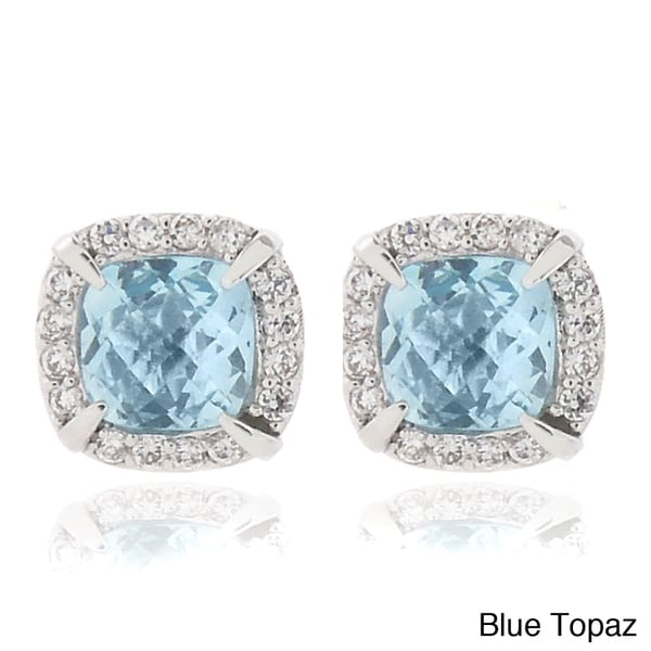 Dolce Giavonna 18k Gold or Silver Overlay Gemstone and CZ Square Stud Earrings. Opens flyout.