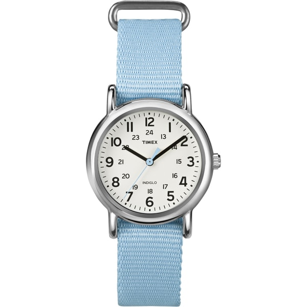 Timex T2P0759J Women's Weekender Pastel Blue Slip Thru Nylon Watch