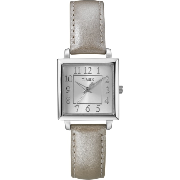 Timex Women's T2P095 Metallic Taupe Leather Strap Watch