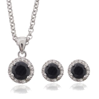 Dolce Giavonna Silver Overlay Sapphire and White Topaz Circle Jewelry Set