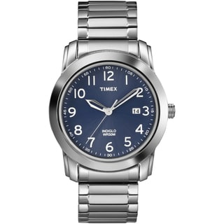 Timex Men's T2P132 Elevated Classics Blue Dial Silvertone Expansion Band Watch