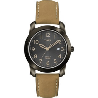 Timex Men's T2P133 Elevated Classics Black Dial Tan Leather Strap Watch