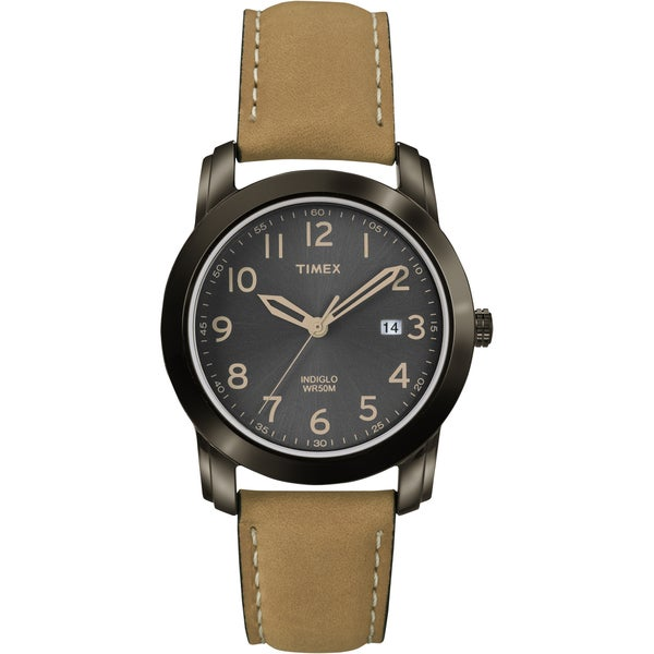 Shop timex men 39 s t2p133 elevated classics black dial tan leather strap watch free shipping on for Black tan watch