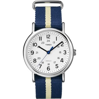 Timex Unisex T2P142 Weekender Navy/ Yellow Stripe Slip-thru Nylon Strap Watch (Option: Yellow)