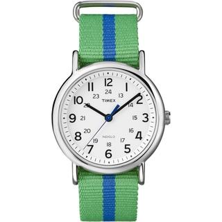 Timex T2P1439J Unisex Weekender Green/ Blue Stripe Slip Thru Nylon Strap Watch