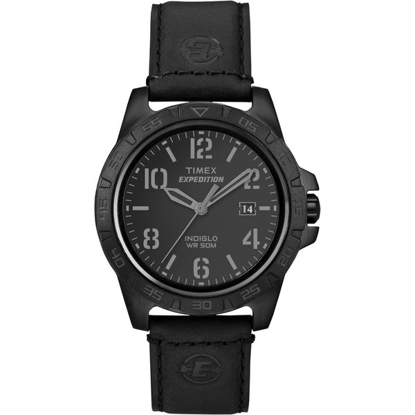 Timex T499279J Unisex Expedition Rugged Metal Field Blackout Leather Watch