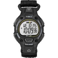 Timex  Men's Ironman Traditional 30-lap Black/ Yellow Fast Wrap Strap Watch - black