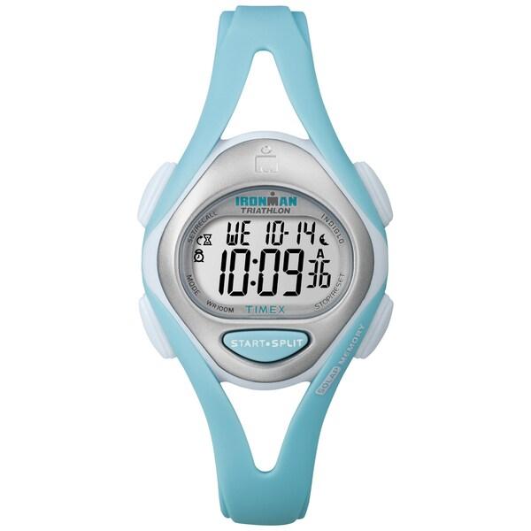 Timex Women's T5K701 Ironman Sleek 50 Mid-Size Mint Blue Resin Strap Watch