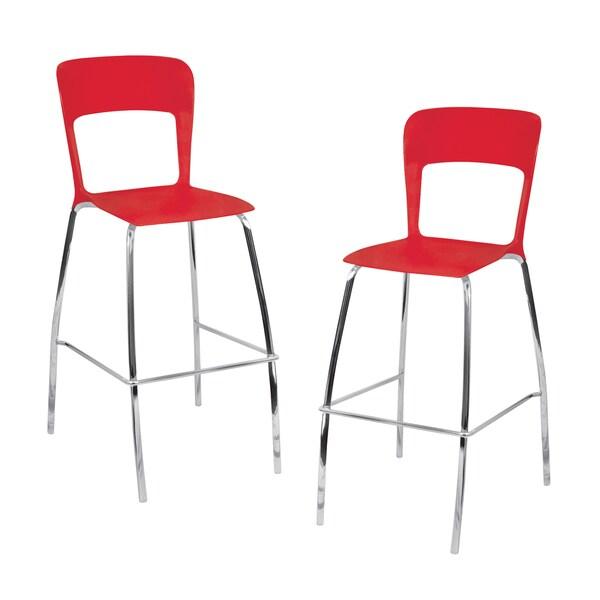 LumiSource Red Barstools (Set of 2)