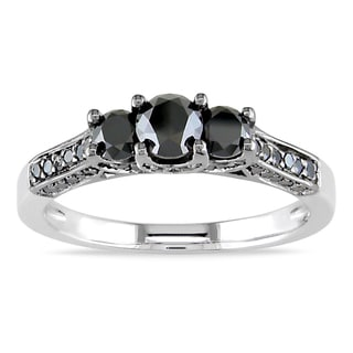 Miadora Sterling Silver 1ct TDW Black Diamond 3-stone Ring