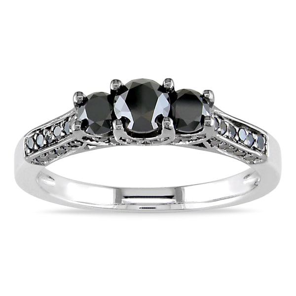 Miadora Sterling Silver 1ct TDW Black Diamond 3-stone Ring (Black, G)