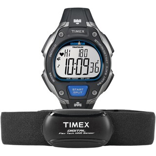 Timex Men's T5K718 Ironman Road Trainer Heart Rate Monitor Black/Silver-Tone/Blue Resin Strap Watch
