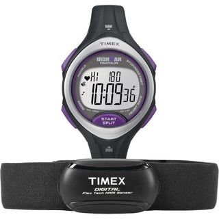 Timex Women's T5K723 Ironman Road Trainer Heart Rate Monitor Black/ Silvertone/ Purple Watch