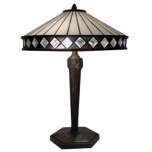 Tiffany-style Warehouse of Tiffany Diamond Table Lamp