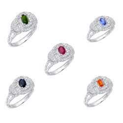 14k White Gold Gemstone and 2/5ct TDW White Diamond Ring (G, SI1)