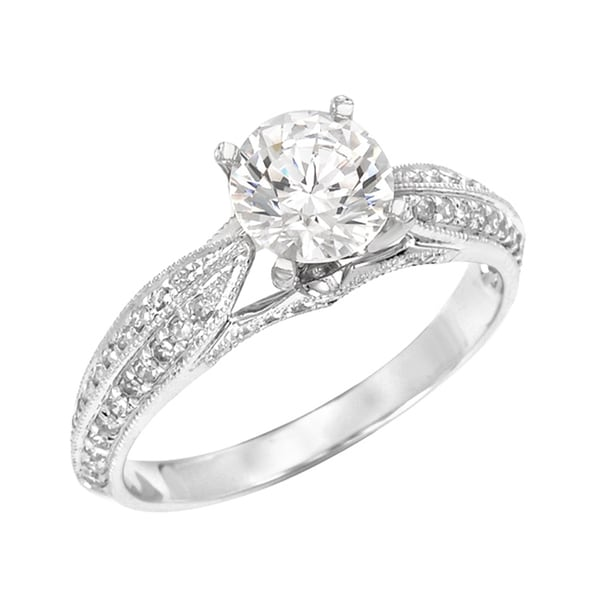 14k Gold Moissanite and 1/4ct TDW Diamond Engagement-style Ring (G, SI1)