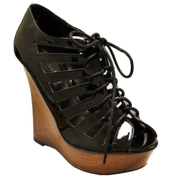 Fahrenheit Women's 'Rai-17' Lace-up Wedge Heels