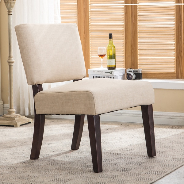 Tan Padded Armless Side Chair