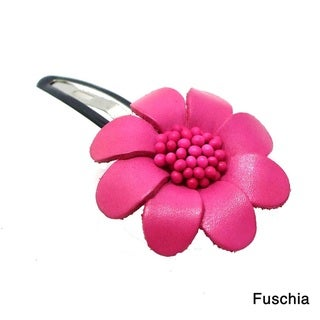 Floral Barrette Genuine Leather Hair Pinch Clip (Thailand)