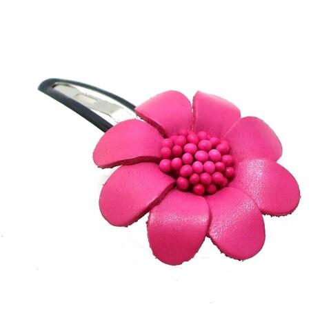 Handmade Floral Barrette Genuine Leather Hair Pinch Clip (Thailand)