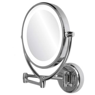 Ovente Dimmable 1x/10 Lighted Brushed Chrome Round Wall Mirror