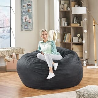 Madison Faux Suede 5-foot Lounge Beanbag Chair by Christopher Knight Home|https://ak1.ostkcdn.com/images/products/7683973/P15093470.jpg?impolicy=medium
