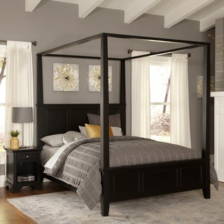 Gracewood Hollow Erdrich King Canopy Bed and Night Stand