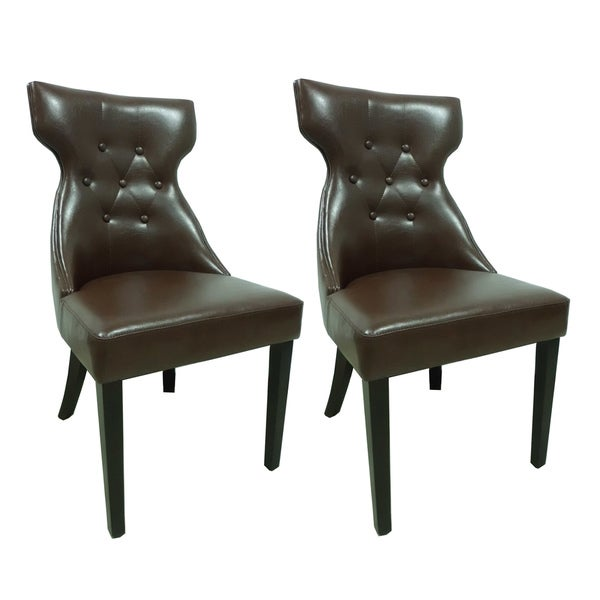 Set Of 2 Elegant Design Furniture Leather Parsons Dining: Shop Elegant Brown Faux Leather Parson Dining Chair (Set