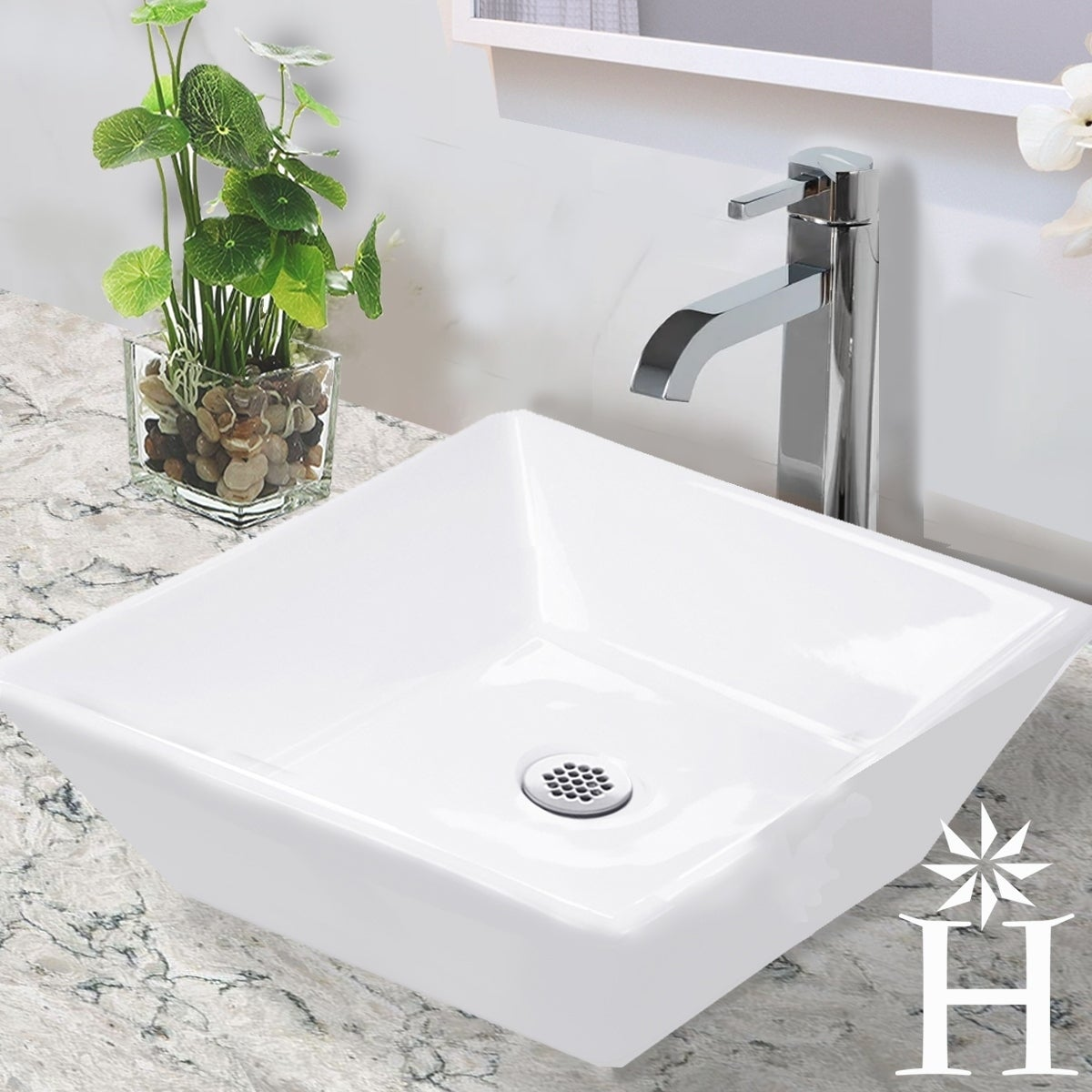 Highpoint Collection 16-inch Square White Bathroom Vessel...