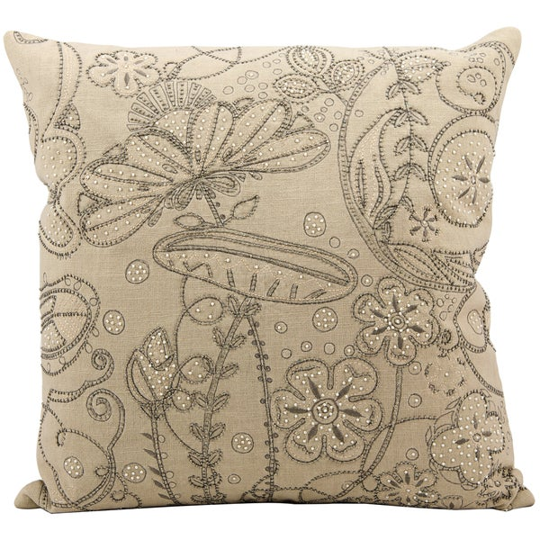 Mina Victory Luminescence Embroidery Beige Throw Pillow (20-inch x 20-inch) by Nourison. Opens flyout.
