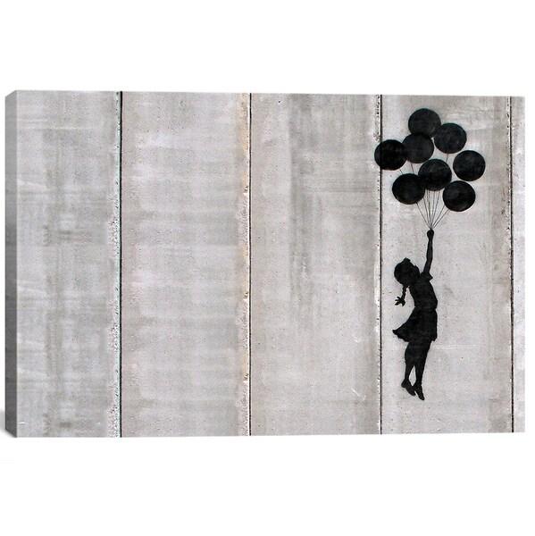 iCanvas Banksy 'Flying Balloons Girl' Canvas Print Wall Art