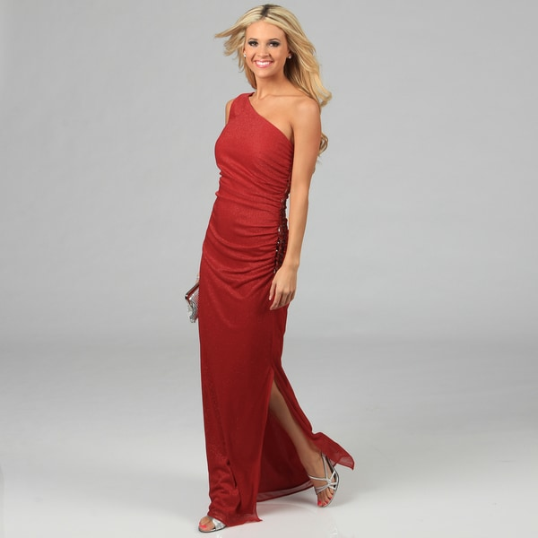 Women's Red One-shoulder Glittery Gown