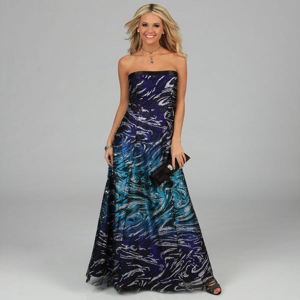 Shop NV Couture Women s Turquoise  Royal Glitter Strapless Gown ... dabb9f64d405