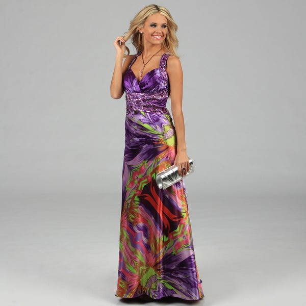 NV Couture Women's Multicolored Criss-cross Beaded Halter Dress