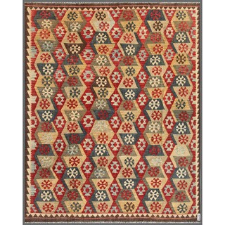 Herat Oriental Afghan Hand-knotted Wool Mimana Kilim (7'11 x 9'8)